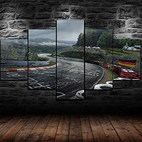 SILUYU-Leinwanddrucke,5 Teiliges Wandbild,Stück Leinwand,Modern Wanddekoration,Hd Modulare Wandkunst Wandaufkleber,Wandgemälde,Nürburgring Rallye Rennstrecke,Mit Rahmen,Größe S:100 * 50Cm