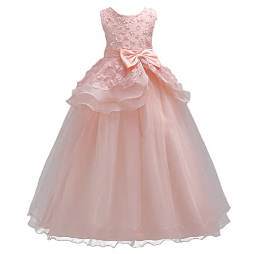 31420223adcb Kids Big Girls Tulle Lace Gauze Flower Bowknot Dress Communion Ball Gown  Dance Pageant Birthday Halloween
