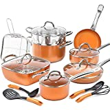 SHINEURI 19-Piece Copper Nonstick Cookware Set and Frying Pan Set & Deep Square Pan 5 Pieces...