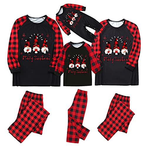 Matching Family Christmas Pajamas Xmas Holiday Sleepwear Jammies Gnome Print Top and Red Plaid Pants Long Sleeve PJs Set