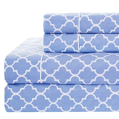 Royal Tradition Meridian 340-Thread-Count, 100-Percent Cotton, 4PC Split Top California King Sheets Set for Flex Head Beds, Periwinkle/White