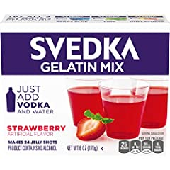 One 6 oz. box of SVEDKA Strawberry Gelatin Mix SVEDKA Strawberry Gelatin Mix makes it easy to make delicious vodka gelatin shots 0 g. fat per serving Packaged in a sealed pouch for lasting freshness Jelly shots are easy to make — just add vodka and w...