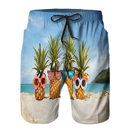 Benle Hombres Playa Bañador Shorts,Familia Gracioso Atractivo piñas Elegantes Gafas de Sol,Traje de baño con Forro de Malla de Secado rápido L
