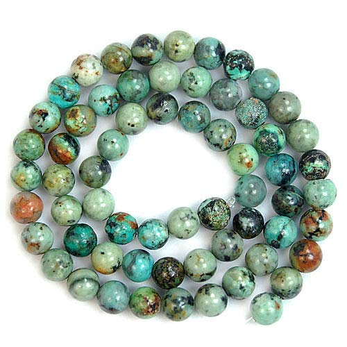 KapOD Beads 12MM Natural Blue African Turquoise Round Gemstone Beads 15.5' Loose Beads