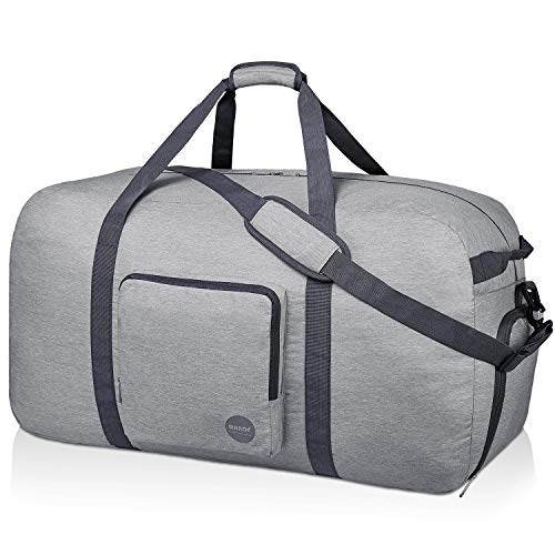 WANDF Foldable Travel Bag with Shoe Compartment Lightweight Sports Bag for Travel Gym Sport Holiday Waterproof Nylon (Gris Claro, 120L)