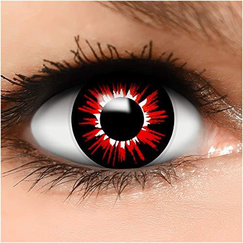 Farbige Kontaktlinsen 'Zombie Luna' in schwarz & rot & weiß, weich ohne Stärke, 2er Pack inkl. Behälter - Top-Markenqualität, angenehm zu tragen und perfekt zu Halloween oder Karneval