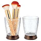 mDesign Modern Round Plastic Tumbler Cup for Bathroom Vanity Countertops for Rinsing, Drinking, Storing Dental Accessories and Organizing Makeup Brushes, Eye Liners - 2 Pack - Clear/Bronze