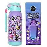 Fringoo - Eco Friendly Bottiglia d'acqua per bambini in acciaio inossidabile con cannuccia | BPA free doppio strato isolante | durevole e leggera - Cibo Gradevole