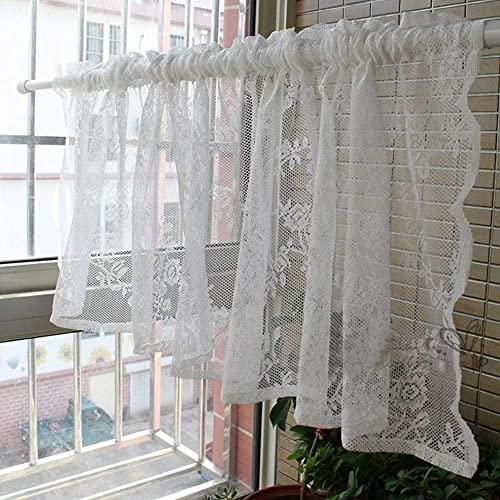 Tiop Visillo de encaje blanco macizo, corto, cortina de cocina para baño, dormitorio, salón, cafetería, 1 pieza
