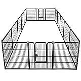 Giantex 40' 16 Panel Pet Playpen with Door, Foldable Dog Exercise Pen, 13ft x 8ft Configurable Freestanding Cat Duck Chicken Rabbit Fence, Outdoor & Outdoor, Metal Pet Exercise Fence Barrier Kennel