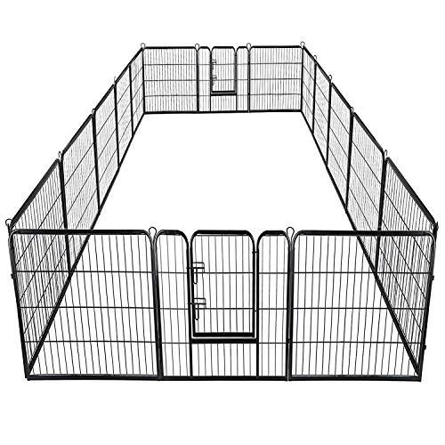Giantex 40inch 16 Panel Pet Playpen with Door, Foldable Dog Exercise Pen, 13ft x 8ft Configurable Freestanding Cat Duck Chicken Rabbit Fence, Outdoor & Outdoor, Metal Pet Exercise Fence Barrier Kennel