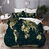 ATZTD Juego de ropa de cama – funda de edredón, diseño de mapamundi del mundo con colores cuadrados, juego de cama decorativo de 3 piezas con 2 fundas de almohada, tamaño king