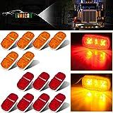 LIMICAR 13PCS Trailer Marker LED Light Double Bullseye LED Trailer Clearance and Side Marker Lights 7Red 6Amber 12LED Clearance Lights Trailer Side Marker Led Lights For Trucks