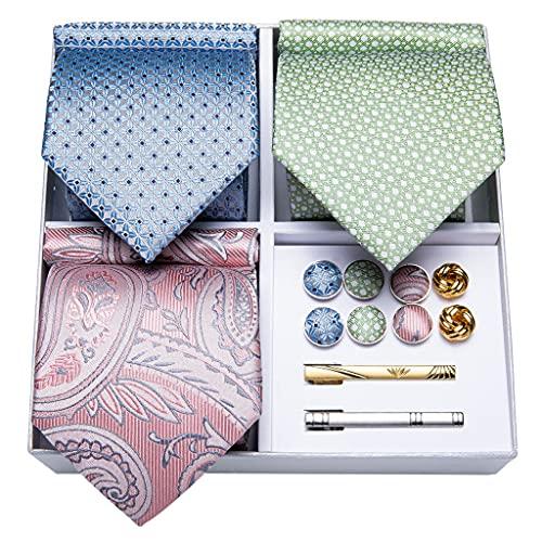 WODMB 3 Pack Men's Tie Set Set de regalo Conjunto de regalo para Hombres Azul Verde Pink Silk Business Body Tie Hanky Gemelos (Color : Blue Green Pink, Size : One size)