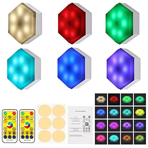 Justech 6PCs LED Luces Táctiles de Pared con Adhesivo LED Luces con Pilas de 16 Colores 6LED Lámpara Armario con Control Remoto Iluminación Nocturna Creativa con Sensor de Tacto para Armario Gabinete