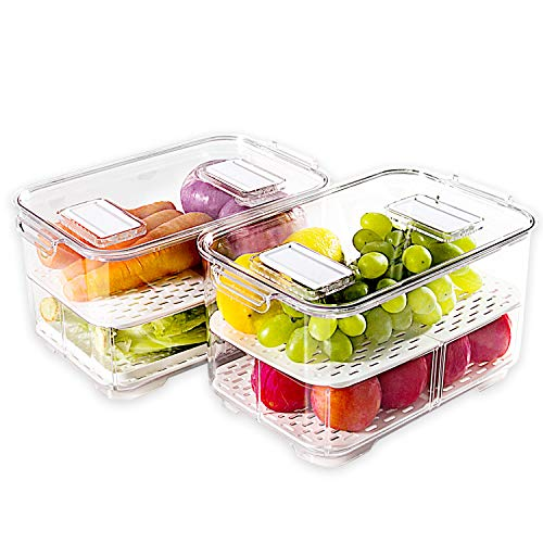 elabo Food Storage Containers Fridge Produce Saver- Stackable Refrigerator Organizer Keeper Drawers Bins Baskets with Lids and Removable Drain Tray for Veggie, Berry and Fruits, 2 Large