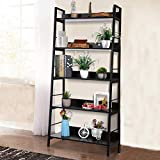 Himimi 5-Tier Ladder Shelf, Industrial Bookshelf Wood and Metal Bookshelves, Plant Flower Stand Rack Storage Shelves for Home Decor