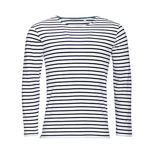 SOLS Herren Marine T-Shirt, gestreift, langärmlig (M) (Weiß/Marineblau)