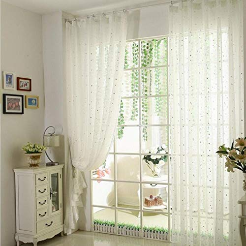 PENVEAT Kids Bedroom White Printed Stars Window Drapes Tulle Pink Bedroom Curtain Decoration Blue Stars Sheer Curtains wp234-30,White Star Tulle,W100cm x H260cm,Just Material