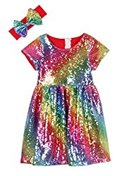 Red Rainbow Toddlers Sequin Dress