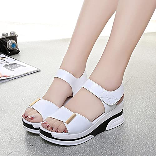 DZQQ 2021, Moda, Zapatos Casuales para Mujer, Sandalias cómodas de cuña de Verano para Mujer, Sandalias Planas para Mujer, cuñas de Verano a la Moda
