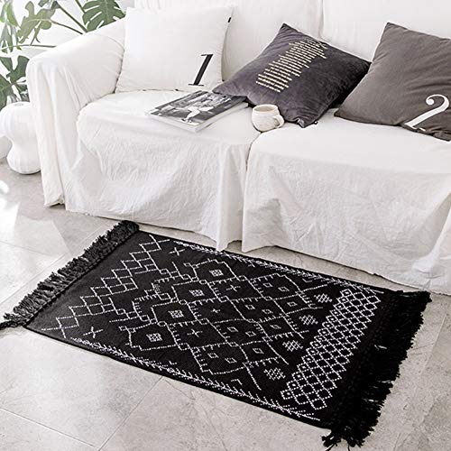 Boho Bathroom Rug Runner, Black White Bath Mat, Woven Cotton Small Throw Rug 2'x4.3', Tassel Rug for Kitchen Laundry Doorway Bedroom