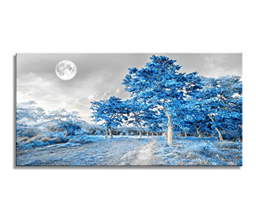 "youkuart Wall Art for Living Room Bedroom Simple Life Blue Moon Tree Artwork Painting Office Wall Decor 20"" x 40"" Single Pieces Canvas Prints Ready to Hang for Home Decoration"