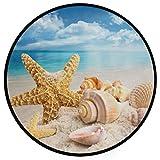Pfrewn Starfish Seashells Beach Doormat Blue Sky Round Floor Mat Washable Non-Slip Indoor Outdoor Area Rug for Bedroom Living Room Home Decor 36