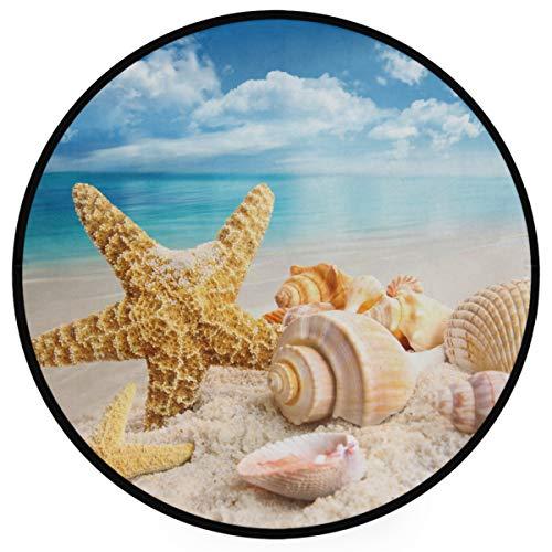 Pfrewn Starfish Seashells Beach Doormat Blue Sky Round Floor Mat Washable Non-Slip Indoor Outdoor Area Rug for Bedroom Living Room Home Decor 36'
