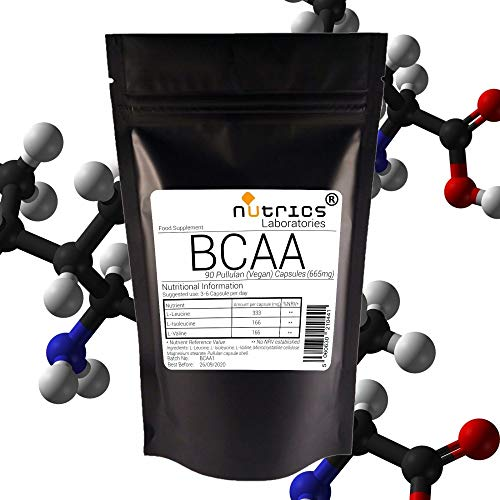 Nutrics BCAA 665mg Branched Chain Amino Acids | 180 Capsules (2 Month Supply) | Made in The UK by Nutrics Laboratories | Suitable for Vegan Vegetarian Halal Kosher