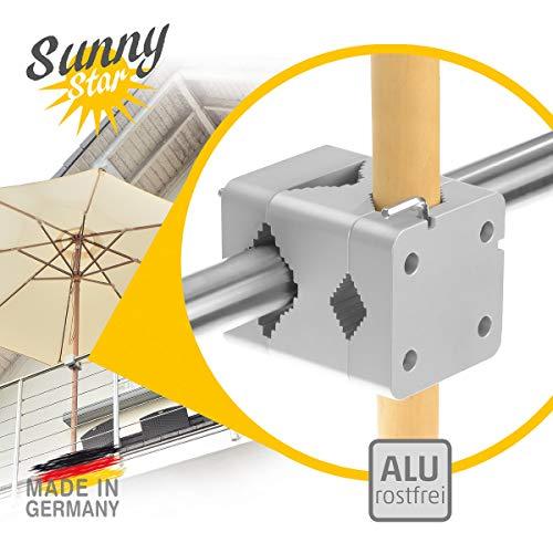 Sonnenschirmhalter Balkongeländer – Sunnystar, der Edle – Sonnenschirmständer Balkon aus Aluminium für Schirme bis Ø 3,50 m oder 3 x 2 m – Exklusives Design, hohe Qualität