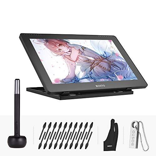 Aibecy BOSTO Grafica Tablet 15.6 pollici IPS Display Monitor Monitor 1920 * 1080 Alta risoluzione 8192 Livello di pressione con penna stilo ricaricabile / 20pcs Pen Nips / Supporto regolabile