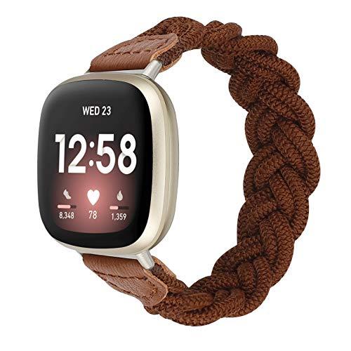 Wearlizer Banda elástica compatible con Fitbit Versa 3 / Fitbit Sense Bands para mujeres, Slim Solo Loop Braided Strap Band Stretch Woven Accesorio de repuesto para Versa 3 / Sense (marrón, grande)