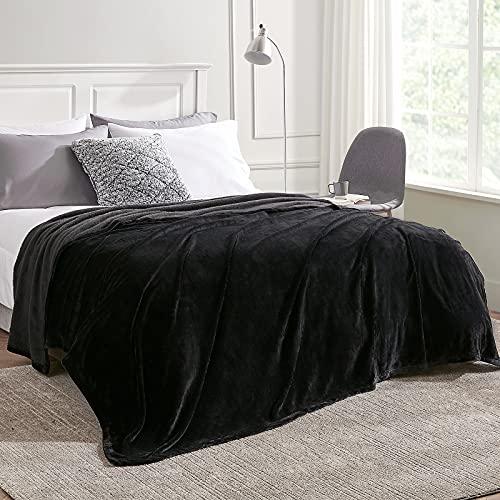 EHEYCIGA Manta Sofa Mantas para Cama Sofa Negro Microfibra Suave Acogedora Manta de Lujo para La Cama 150x200 cm