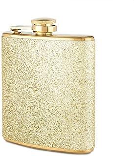BETEVE Bracelet Flask Rhinestone Lid 304 Stainless Steel Flask Bangle for Women,Girls,Gifts for Mothers Day,Christmas Day,Birthday,Bonus Funnel/&Gift Box Black