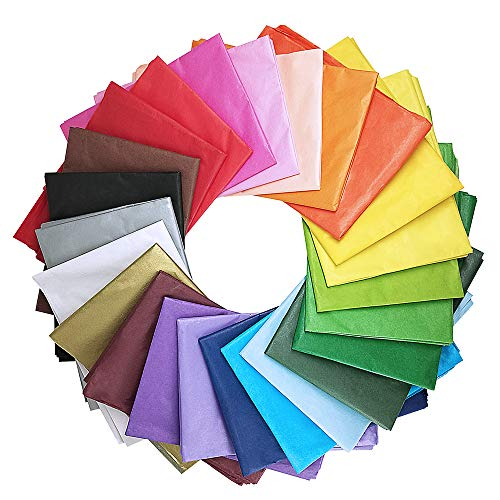 Supla 120 Sheets 24 Colors Tissue Paper Bulk Wrapping Tissue Paper Art Rainbow Tissue Paper 20 x 26' for Art Craft Floral Birthday Party Festival Gift Wrapping Decorative Tissue Paper Pom Pom