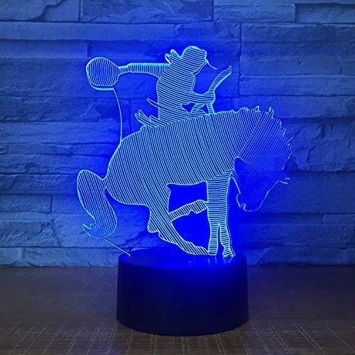 Een paard trainer dressur model optische illusie lamp LED kleur lamp 3D lamp nachtlicht acryl sfeer lamp 7 kleuren moderne lamp kind huis decoratie