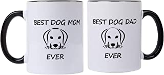 Best Dog Mom/Dad Ever Set of 2 -Perfect Dog Lover Gifts Pet Owner for women men,dog mom and dad coffee mugs