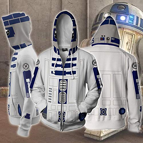 Erwachsene Hoodie Male Cosplay R2-D2 Roboter 3D Printed Cosume Hoodie Superheld Pullover Reißverschluss-Jacken-Sweatshirt M