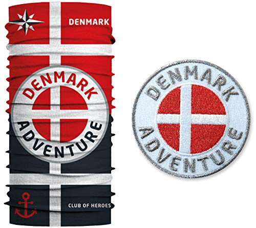 Club of Heroes Dänemark Set / 1 Patch + 1 Multifunktionstuch/Aufnäher Aufbügler gestickt/Schlauchtuch Bandana Halstuch M&schutz/Denmark Nordsee dänisch Flagge Wappen Kopenhagen