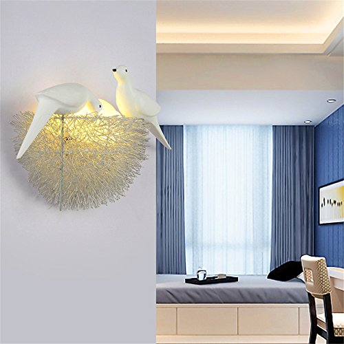 YU-K Chambre Simple Vintage wall lamp creative living salle à manger chambre lumières lumières allée lampe murale enfant garçon fille décoration chambre chevet lampe murale couloir des nids d'oiseaux, 280 * 360mm
