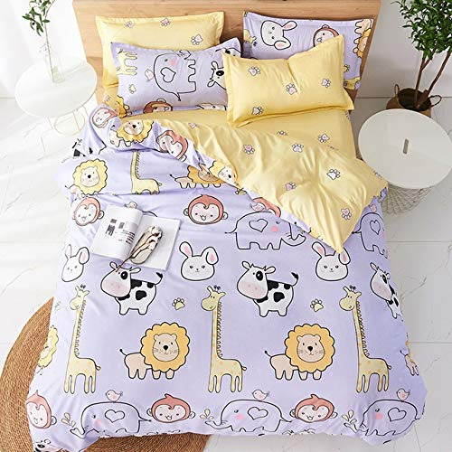YUXO Duvet Set Bedding Sets 4pcs Cute Cartoon Flower Bedding Set Polyester Home Textile Garden Bed Sheet Quilt Cover Pillow Case Boy Girl Bedding 1024 (Color : 80114, Size : Flat Bed Sheet)