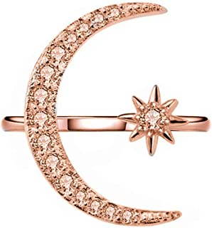 Yuren Opening Ring Crescent Shape Rhinestone Finger Band Half Moon Sun Star Artificial Diamond Inlay Engagement Ring (Rose Gold)
