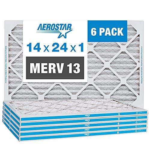 Aerostar 14x24x1 MERV 13 Pleated Air Filter, AC Furnace Air...