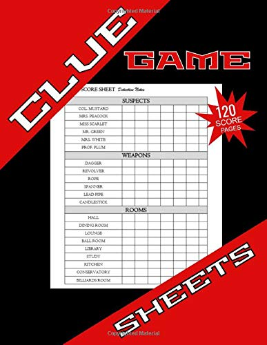 Clue Game Sheets: Clue Game Gifts, 120 Clue Detective Notebook Sheets, Clue Game Sheets,  Replacement Pads, Clue Score Pads for Clue Board Games