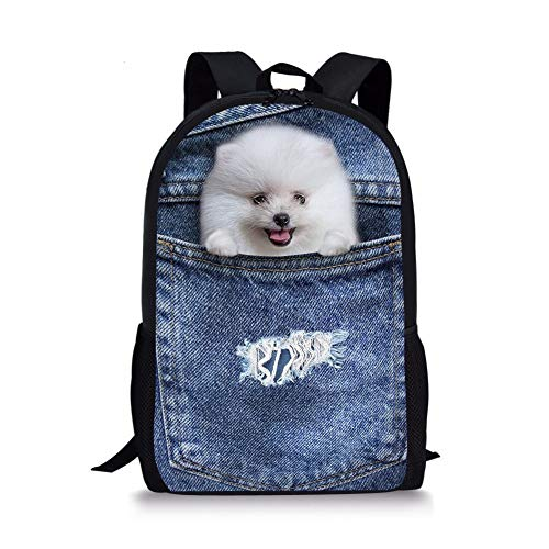huatongxin Cute Denim Blue Mochila Jean Pet Cat Dog Children School Book Bags