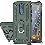 LG K40/K12 Plus/Solo LTE/Harmony 3 Case with Tempered Glass Screen Protector [2 Pack],YmhxcY 360 Degree Rotating Ring Double Layer Shockproof Slim Drop Full Body Protection for LG X4 2019 Dark Green