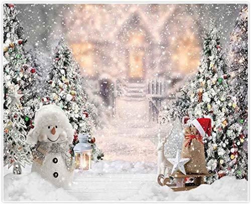 Allenjoy Sfondo Natalizio Con Pupazzo Di Neve Per Fotografia Natalizia Albero Di Natale Di Neve Decorazione Bianca Per Baby Shower Compleanni Photo Booth