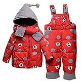 Baby Winter 3 Stück Schneeanzug Kapuze Daunenjacke + Schneehosen + Schal Kinder Skianzug Outfit Bekleidungssets Rot 3-4 Jahre