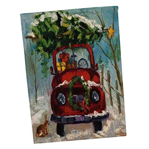 Sharplace Drapeau de Jardin Drapeaux Joyeux Noël Décoration de Maison Suspendus - Voiture Peinture